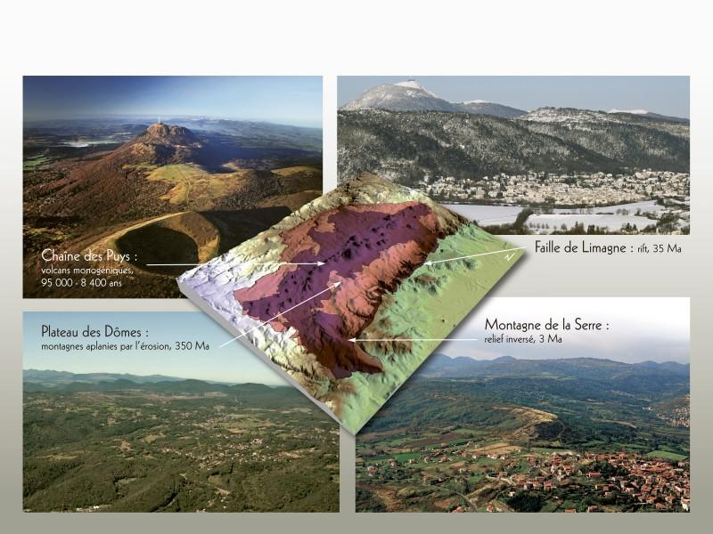 Principaux attributs géologiques qui composent le haut lieu tectonique Chaîne des Puys – faille de Limagne (E.Langlois)